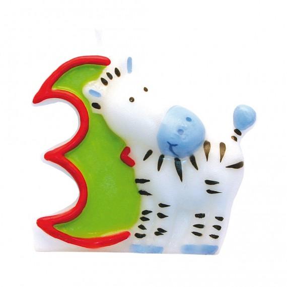"""Κερί Safari """"3"""" / 5 εκ ύψος"""