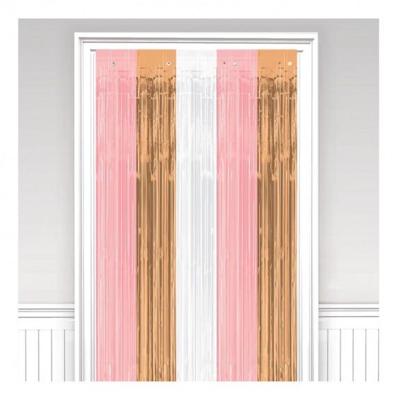 Κουρτίνα Ροζ- Λευκό και...
